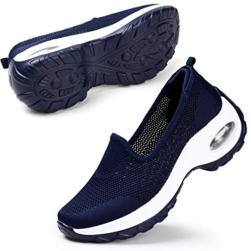STQ Mesh Slip On Damen Freizeit Turnschuhe Fashion Outdoor Atmungsaktiv Plattform Air Walking Schuhe(Blau 40)