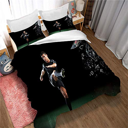 Meet Football Cristiano Ronaldo Bedding Set, 1 Duvet Cover + 2 Pillow Cases - Prevent Moisture, Hypoallergenic (Style 04,Double(200x200cm))