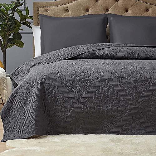 Hansleep Colcha 240x260 cm Manta Colcha Gris Oscuro Colcha de Microfibra para Dormitorio Manta Acolchada Súper Suave y cómoda Adecuada para la Cama