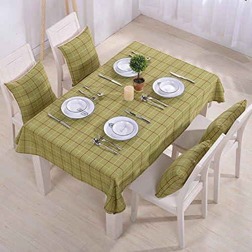 WERLM Nappe en Coton et Lin Simple vérifier cirée Table d'extérieur en Tissu, Vert, 135  180cm