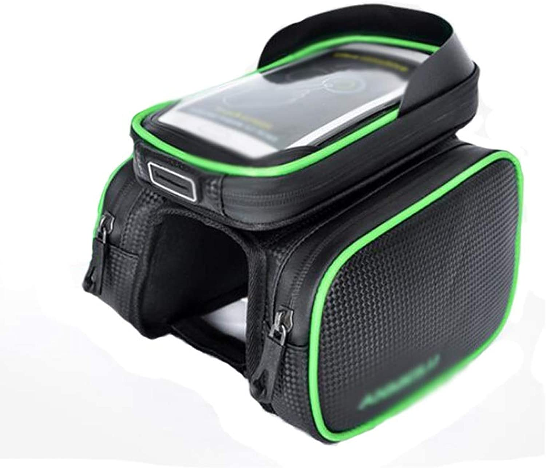 HongTeng Bicycle Tube Bag Mountain Bike Saddle Bag Waterproof Large Capacity for Mobile Phone 5.8 Inch Bag Riding Equipment (color   Green)