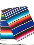 Mexitems Large Authentic Mexican Blankets Serape Blanket 84' X 60' (Pick Your Color) Pattern Might Vary Slightly (Royal Blue) Zarape