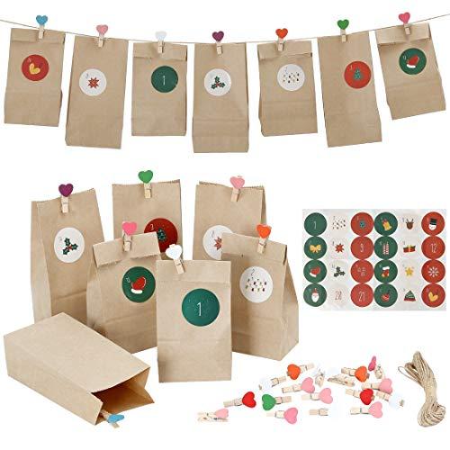 Evance Bolsas de Regalo Navidad, con 24 Bolsas de Regalo, para Navidad Regalo, Dulces, Galletas, niños Fiestas,...