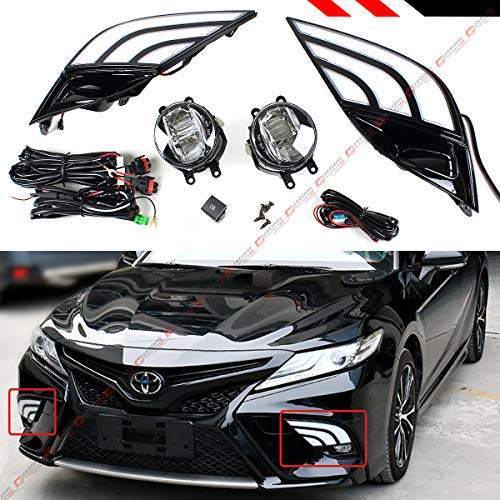 White & Amber Switchback LED DRL Fog Light Bezel Cover + Clear Lens LED Fog Lamp Kit + Square Switch Compatible With Fits for 2018-2020 Toyota Camry SE XSE