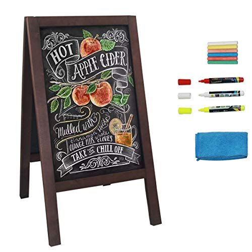 HUAZI Wooden A Frame Chalkboard Sign Standing Sidewalk Sign 40x 20 inches Sandwich Chalkboard Sign with Liquid & Solid Chalk for Indoor Outdoor