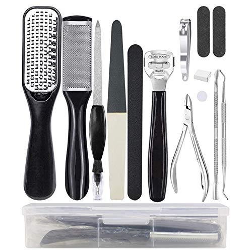 Professional Pedicure Tools Set 15 in 1, Foot Care Kit Stainless Steel Foot Rasp Foot Dead Skin Remover Pedicure Kit for Men Women Salon or Home Best Gift