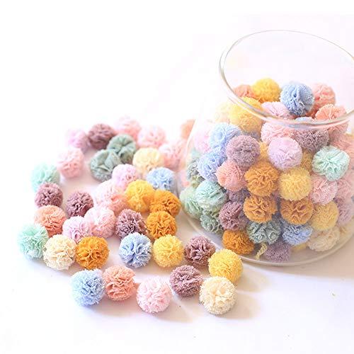 DAHI Pompons, Bunte Bommeln bälle Flauschigen Plüsch Bälle Pom Pom Set zum Basteln DIY Kreative Handwerk (B/1.5cm)