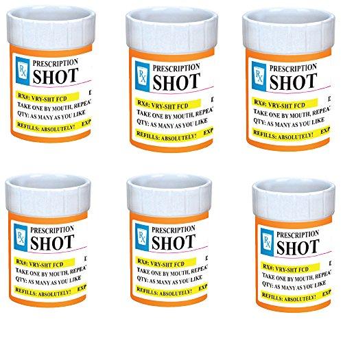 Shot Glasses Set of 6 - Prescription Pill Bottle Shot Glass - 2 oz RX Prescription Unique Funny Novelty Shot Glass Set