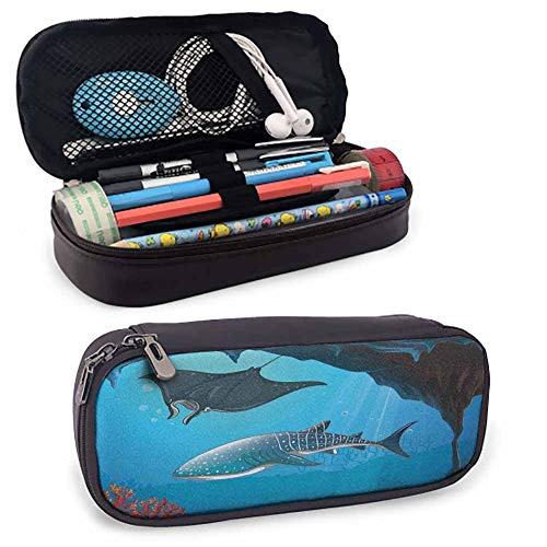 Shark Pencil case Shark Deep Water Stingray with Coral Reefs Algae Rocky Cave Exotic Cartoon Style Art with Compartment Blue Grey