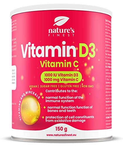 Nature's Finest Vitamin D3 + Vitamin C | 1000 IU (500% NRV) Vitamin D3 per Dosage | 1000 mg (1250% NRV) of Vitamin C per Dosage | for a Strong Immune System