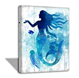 The Little Mermaid Bathroom Pictures gallery Wall Decor for Girls Bedroom Bathroom Decor Modern Home Artwork for Walls Watercolor Canvas Framed Wall Art for Bedroom Kitchen Wall Decoration Size 12x16