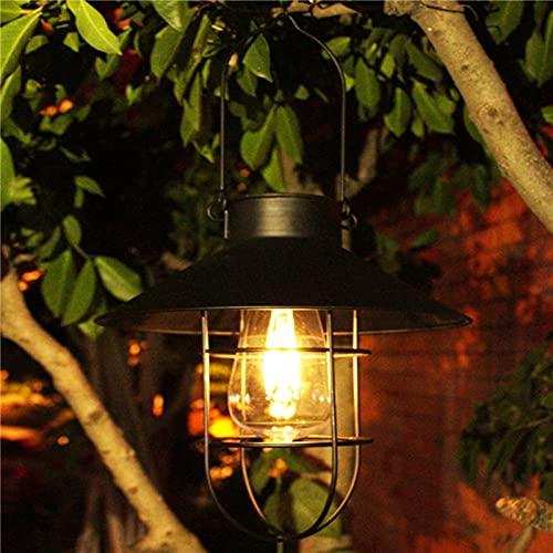 Farol solar exterior de metal, lámpara solar de jardín con luces LED cálidas, lámpara de jardín con gancho de hierro forjado, farolillo de cristal, luz colgante, decoración de patio
