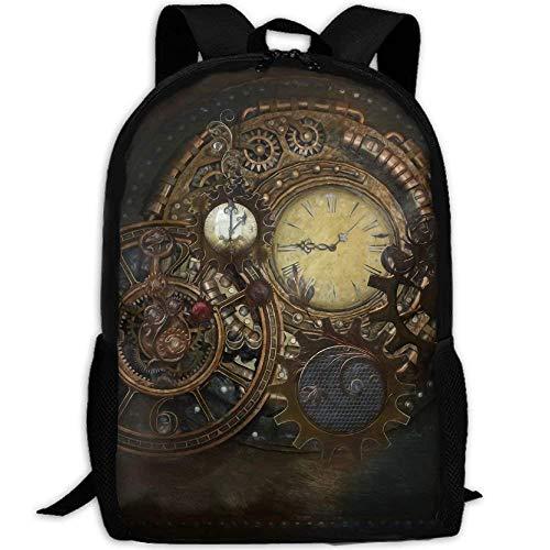 huatongxin Zaino da viaggio portatile per sport all'aria aperta Orologi Steampunk Bookbag per scuole di grande capacità per laptop/Libri/Ombrello/Snack/Cuffie/Powel mobile/Abbigliamento