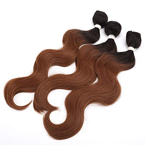 Body Wave Synthetic Hair Weave 3 Hair Bundles Total 200g 14 16 18 Inches High Temperature Fiber Weft Hair Extensions Ombre Color 1B/30 Black And Brown Synthetic Hair Weft