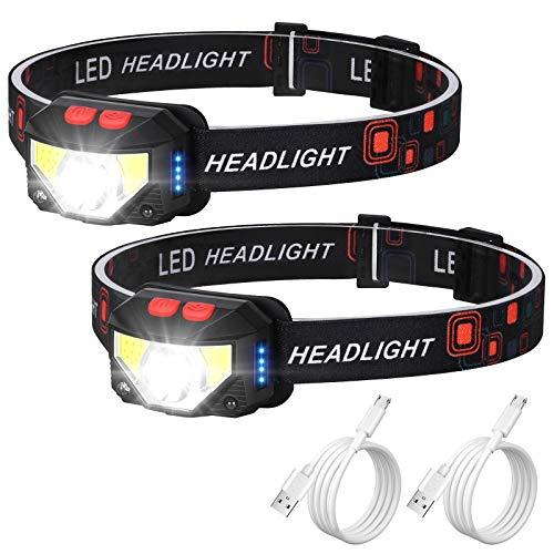 Rechargeable Headlamp - 1100Lumen Super Bright Motion Sensor LED Head lamp Flashlight, Waterproof USB Rechargeable Head Light with 8 Modes Head Lights for Outdoor Camping Cycling Hiking Fishing-2 Pack