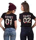 Sister Shirts Best Friends T-Shirts BFF T-Shirt für Zwei 2 Mädchen BFF Oberteile BFF Geschenke 2 Stücke, Schwarz-flower, Sister01-S+Sister02-S