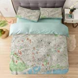 Aishare Store Bedding Duvet Cover 3 Piece Set Californai King, Map,Barcelona Streets Parks, Comforter Cover with Zipper Closure and 2 Pillow Shams