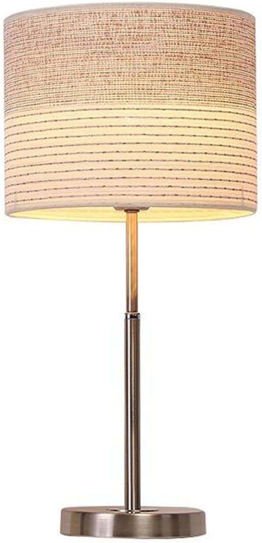 Tischlampe Nachttischlampe Eisen Basis Stoff Dimmerschalter Modern Kontinental Schlafzimmer Wohnzimmer Dekoration Warmes Licht, beige