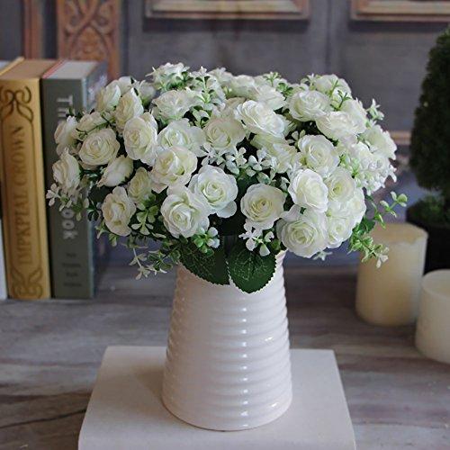 1 Bouquet 15 mini rosas hermosas flor artificial de seda, nunca se desvanecen verdadera falso toque flor con hojas verdes Para la boda casera nupcial del Hydrangea Decoraciones-Leche blanca