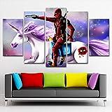 KAIASH 5 lienzos decoración Cuadro de Lienzo Película Deadpool Personaje Unicornio decoración del hogar para dormitorios Modernos