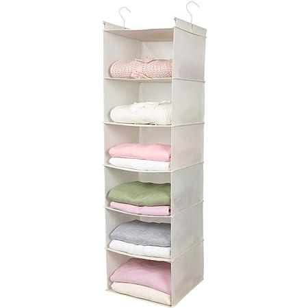 MAX Houser 6 Tier Shelf Hanging Closet Organizer, Cloth Hanging Shelf with 2 Sturdy Hooks for Storage, Foldable, Beige