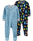 Carter's Boys' Toddler 2-Pack Loose Fit Fleece Footed Pajamas, Monsters/Blue Mooses, 3T