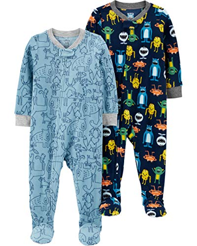 Carter's Baby Boys 2-Pack Loose Fit Fleece Footed Pajamas, Monsters/Blue Mooses, 18 Months