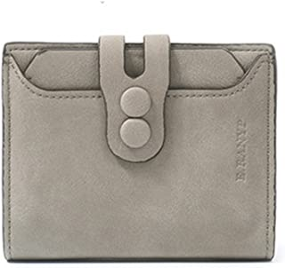 Women's Short Wallet Leather Coin Purse Mate Lady's Purse (Color : Grey)