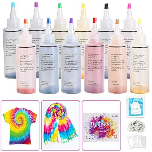 Ucradle Tie Dye Kit, 12 Stück Stoff Textil Farben Tie-Dye Kit Vibrant Stoff Textil Farben mit 40 Stück Gummi Band und 1Vinyl Tischdecke
