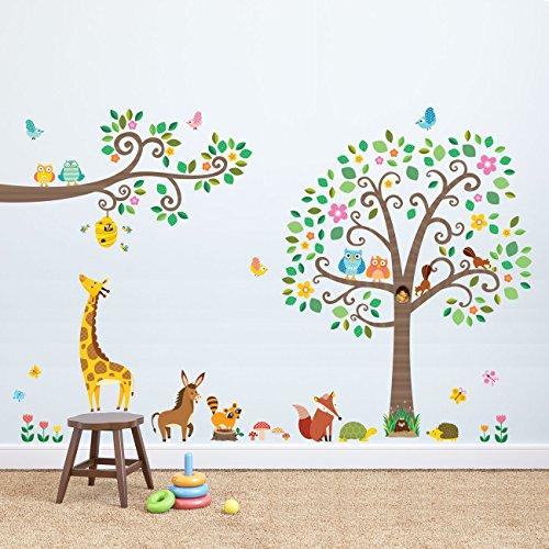 DECOWALL DA-1502P1512 Árbol de Grandede Tronco y Ramas con Animales Vinilo Pegatinas Decorativas Adhesiva Pared Dormitorio Saln Guardera Habitaci Infantiles Nios Bebs