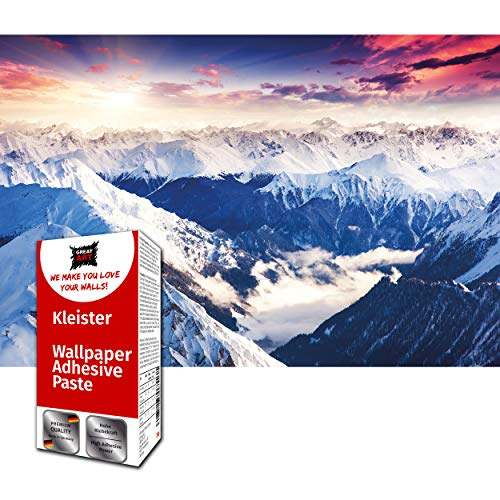 GREAT ART Fototapete Alpen Panorama Sonnenuntergang 210 x 140 cm – Berge Schnee Winterlandschaft Gipfel Gletscher Natur Dekoration Wanddeko – 5 Teile Tapete inklusive Kleister
