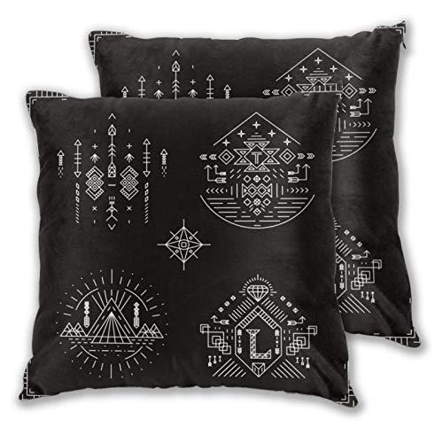ALLMILL Juego de 2 Decorativo Funda de Cojín,Vector Elementos étnicos Tribales. Patrón Ornamento Ilustración India Azteca Nativo Tradicional Moda,Funda de Almohada Cuadrado para Sofá Cama