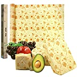 Reusable Food Wraps Roll Beeswax Wraps Eco Friendly Sustainable Paper Alternative to Plastic Wrap For Sandwich, Cheese, Fruit, Bread, Snacks (Bees Print)