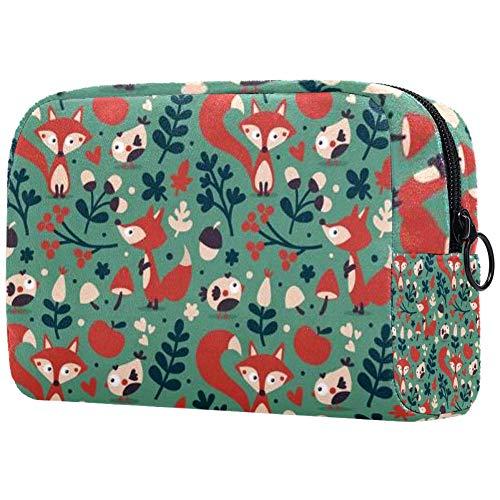 Sac cosmétique mignon d'automne renard oiseau fleur fleur fleur feuille baies coeur imprimé adorable sac de maquillage sac de voyage sac de toilette sac organiseur Couleur 01 7\