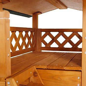 dibea CH10810, Maison pour Chats, Lodge Cabane en Bois, 77 x 50 x 73 cm, avec Terrasse (Marron)