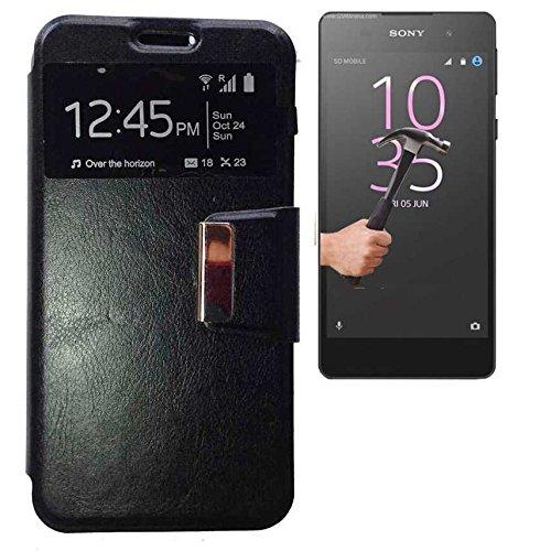 Todobarato24h Funda Libro Ventana Negra Compartible con Sony Xperia XA Ultra + Protector de Cristal Templado