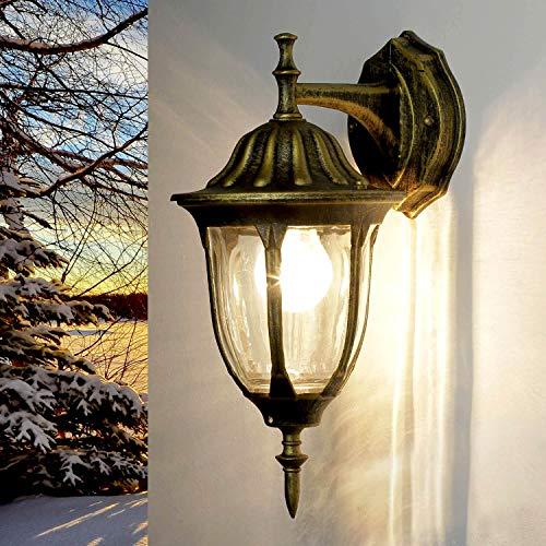 *Edle Wand-Außenleuchte hängend in antik-gold Hoflampe Außenlampe Wandbeleuchtung 8371*