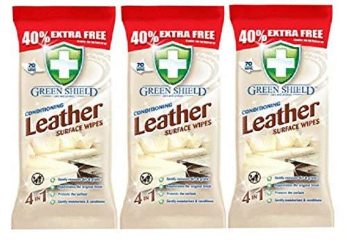 3 toallitas para limpiar superficies de piel con protección de suciedad y protección contra manchas (210 unidades)