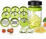 Adoric Cortador de Verdura 9 en 1 Rallador de Verduras Calabacin Pasta Espiralizador Vegetal Veggetti Slicer Pepino, Espaguetis de Calabacin, Cortador Espiral Manual (Verde)