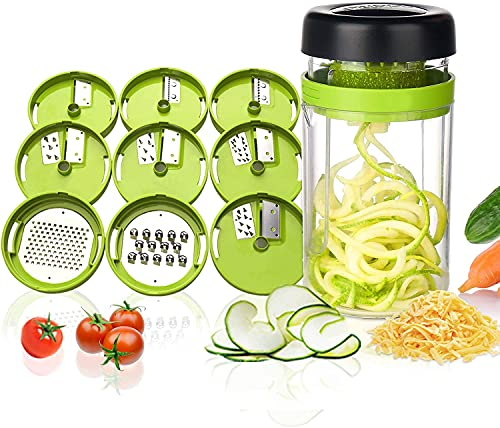 Taglia Verdure a Spaghetti, Adoric 9 in 1 Spiralizzatore di Verdure Affetta Verdure a Spirale con Contenitore, Mandolina per Verdure Affettatrice per Spaghetti di Zucchine,Carote, Cetrioli