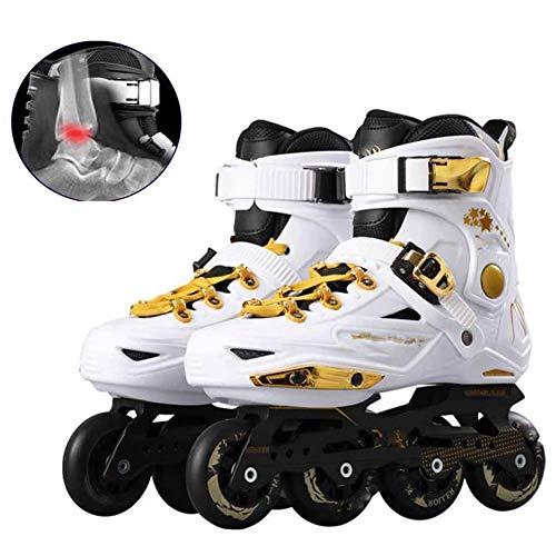 MAMU Rollhockey Skates Junior Inline Skates Für Kinder Rollschuh Für Jungen Mädchen Teens Frauen,Weiß,36EU