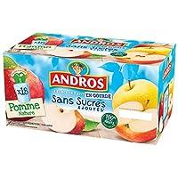 Andros : La Force du Fruit en Gourde Etui composé de 18 compotes de pommes en gourdes sans sucres ajoutés (contient des sucres naturellement présents dans les fruits) 18 gourdes de purée de Pomme Nature : pommes 99,9%, jus concentré d'acérola.urel de...