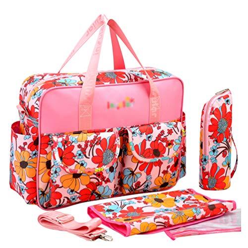 Haobing Moderne Wickeltasche 2pcs Geräumige Baby Tasche Reise Wickelhenkeltaschen Umhängetaschen für Schwangere (Sonnenblume, 39 * 12.5 * 29cm)