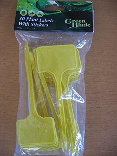 Étiquettes de plantes avec autocollants x 30 jaune, en plastique