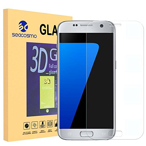 Galaxy S7 Screen Protector, Seacosmo Tempered Glass Screen Protector Cover [ 3D Curved Full Coverage ] For Samsung Galaxy S7 LIFETIME WARRANTY, Clear