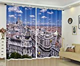 AMDXD 2 Panels 100% Polyester Curtains, Modern Kitchen Curtains Madrid Cityscape Drapes, Machine Washable, Blue White, 84 W x 54 H Inches