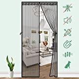SAFETYON Mosquitera Puerta Magnetica, 100 x 220cm, Corredera Cortina Mosquitera Magnética para Puertas de Salón/Balcón/Corredor (Negro)
