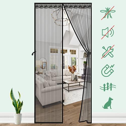 SAFETYON Mosquitera Puerta Magnetica, Corredera Cortina Mosquitera Magnética, Cierre Magnético Automático, Fácil de Ensamblar, Anti-insectos para Salón/Balcón/Dormitorio, Negro 80 x 200cm