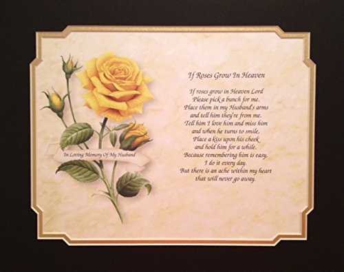 In Memory of Husband 'If Roses Grow In Heaven' Memorial Poem For Loss Of Spouse Sympathy Gift For Widow Yellow Rose Background