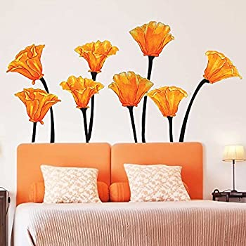 Chromantics California Poppies Watercolor Wall Decal Set - Flower Wall Decals